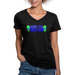 Aliens For Barack Obama Women's V-Neck Dark T-Shir