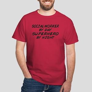 Social Worker Day Superhero Night Dark T-Shirt