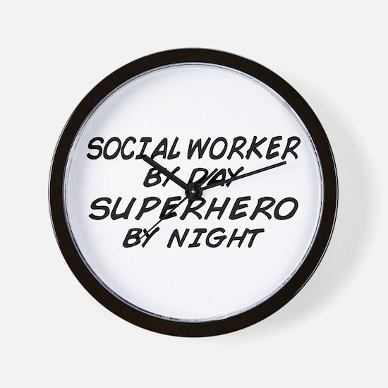Social Worker Day Superhero Night Wall Clock