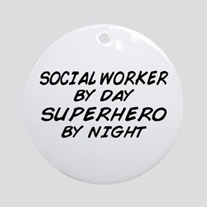 Social Worker Day Superhero Night Ornament (Round)