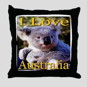 I Love Australia Koala Bear Throw Pillow