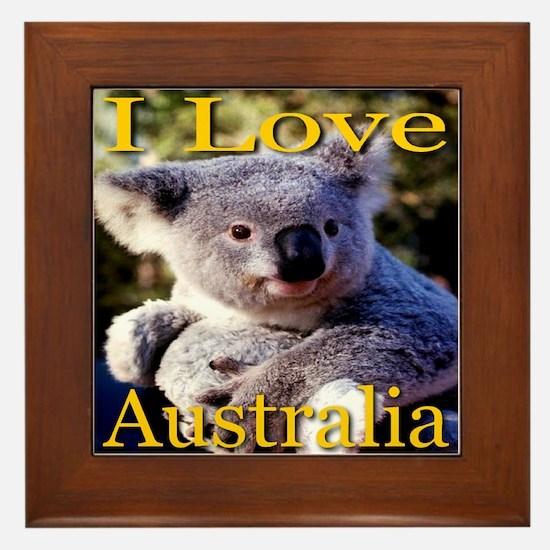 I Love Australia Koala Bear Framed Tile