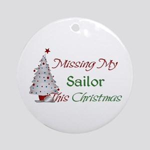 Missing My Sailor This Christmas Ornament (Round)