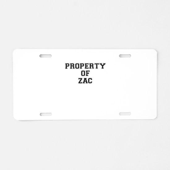 Property of ZAC Aluminum License Plate