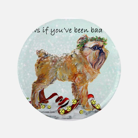 Brussels Griffon Christmas Button