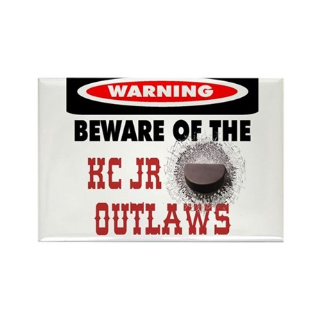 WARNING KC JR OUTLAWS Rectangle Magnet