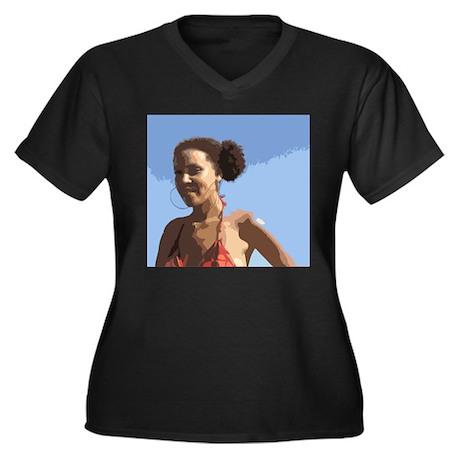 Afro Puffs Women's Plus Size V-Neck Dark T-Shirt