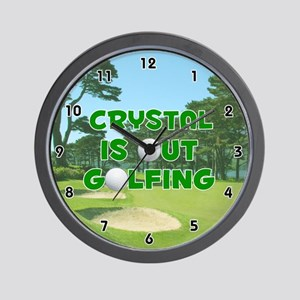 Crystal is Out Golfing (Green) Golf Wall Clock