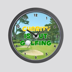 Charity is Out Golfing (Gold) Golf Wall Clock