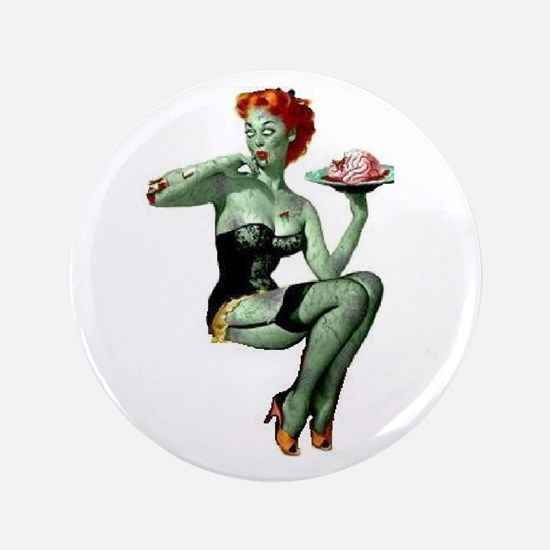 """zombie pin-up girl 3.5"""" Button (100 pack)"""