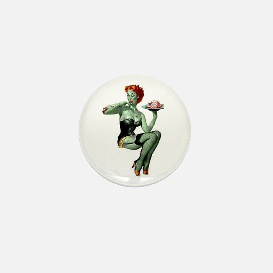 zombie pin-up girl Mini Button