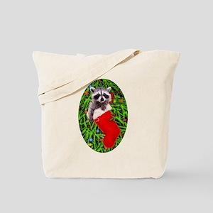 Raccoon in Stocking Tote Bag