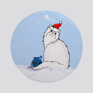 Chrismukkah Persian Cat Ornament (Round)