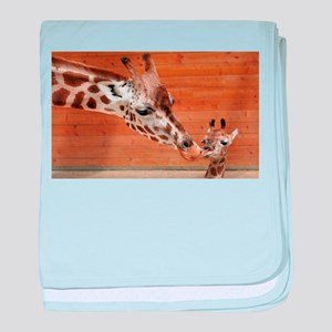 Kissing giraffes baby blanket