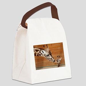 Kissing giraffes Canvas Lunch Bag