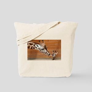 Kissing giraffes Tote Bag
