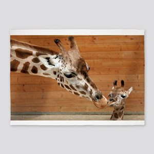 Kissing giraffes 5'x7'Area Rug