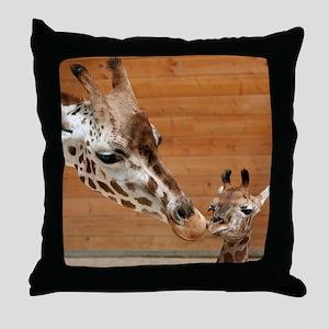 Kissing giraffes Throw Pillow