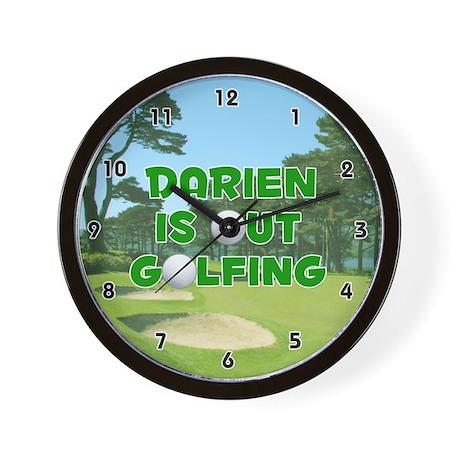 Darien is Out Golfing (Green) Golf Wall Clock