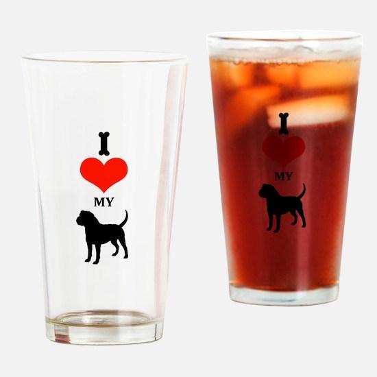I Love My Olde English Bulldogge Drinking Glass