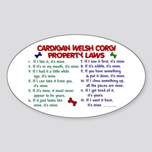 Cardigan Welsh Corgi Property Laws 2 Sticker (Oval