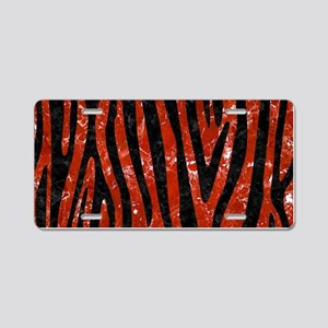SKIN4 BLACK MARBLE & RED MA Aluminum License Plate