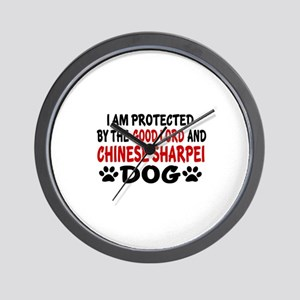 Protected By Chinese Shar-pei Dog Wall Clock