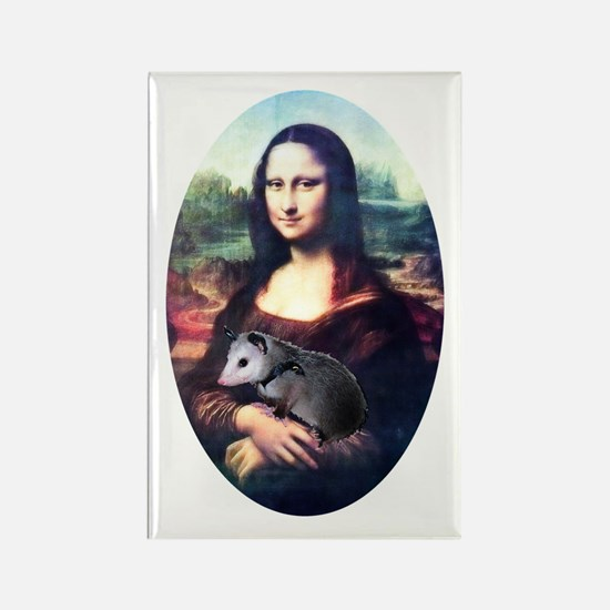 Mona Lisa Possum Rectangle Magnet