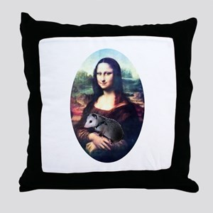 Mona Lisa Possum Throw Pillow