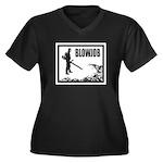 BLOWJOB Women's Plus Size V-Neck Dark T-Shirt