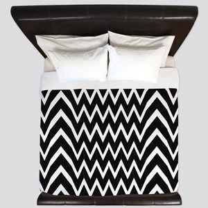 Black Chevron Illusion King Duvet