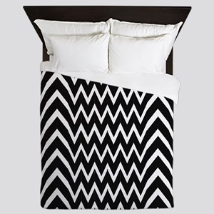 Black Chevron Illusion Queen Duvet