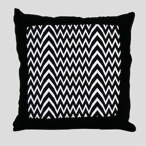 Black Chevron Illusion Throw Pillow