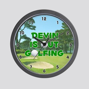 Devin is Out Golfing (Green) Golf Wall Clock