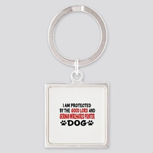 Protected By German Wirehaired Poi Square Keychain