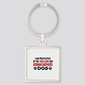Protected By German Shepherd Square Keychain