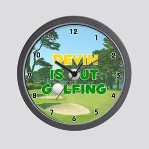 Devin is Out Golfing (Gold) Golf Wall Clock