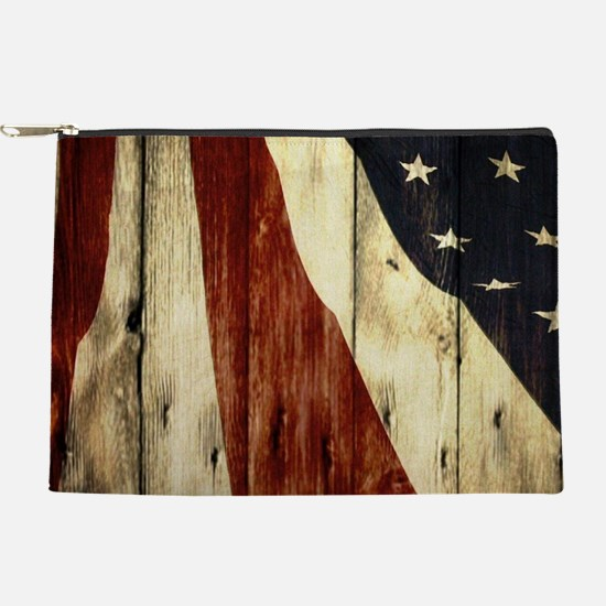 wood grain USA American flag Makeup Bag