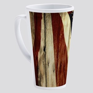 wood grain USA American flag 17 oz Latte Mug