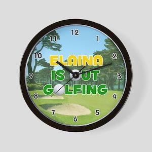 Elaina is Out Golfing (Gold) Golf Wall Clock