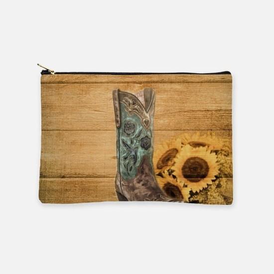 western cowboy barnwood sunflower Makeup Bag