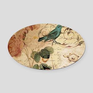 rose bird french botanical Oval Car Magnet
