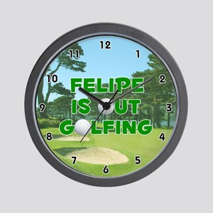 Felipe is Out Golfing (Green) Golf Wall Clock