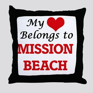 My Heart Belongs to Mission Beach Cal Throw Pillow