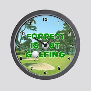 Forrest is Out Golfing (Green) Golf Wall Clock