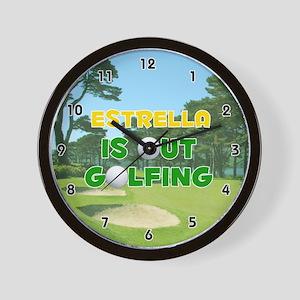 Estrella is Out Golfing (Gold) Golf Wall Clock