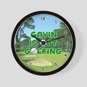 Gavin is Out Golfing (Green) Golf Wall Clock
