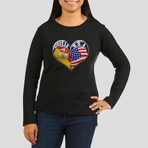 SICILIA U.S.A HEART Women's Long Sleeve Dark T-Shi