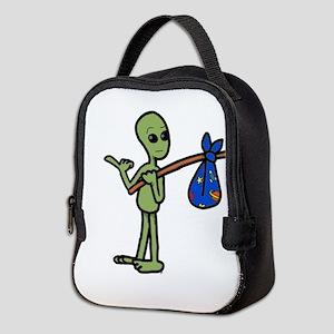 hitchhiking Alien Neoprene Lunch Bag