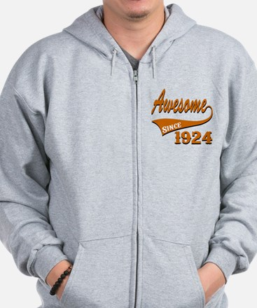 Awesome Since 1924 Birthday Designs Zip Hoodie